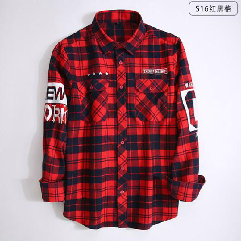 Hip Hop Style Men Long Sleeve Fashion Grind Shirts Camisa,Turn-down Collar Slim Fit Pure Cotton High Quality Pattern Shirts 14