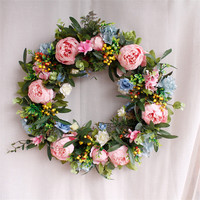 Door Hanging Decoration Christmas Wreaths Simulation Floral Garland for Wedding Decoration Home Party Hawaii Wreath Decoraciones