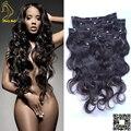 Клип в Расширениях Человеческих Волос Волнистые Малайзийские Виргинские Человеческие Волосы клип Ins Объемная Волна Natural Black для Чернокожих Женщин Бесплатно доставка