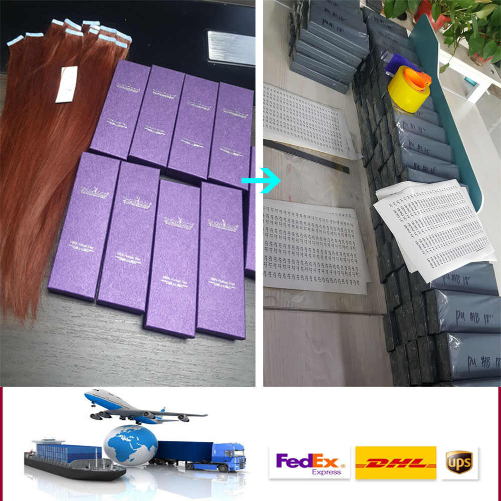 ShowCoco Tape in Human Hair Extensions Natural Real Hair 20/40pcs Machine-made Remy shine Brown to Blonde tape ins