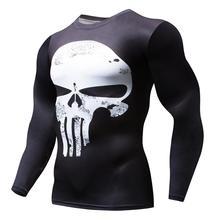 ac235ae6f2068 Long Sleeve Sport Shirt Men Superhero Punisher 3D Compression T Shirt Quick  Dry Men s Running T