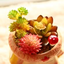 YOOSA Artificial Manmade Mini Plastic Pot Succulents Flowers Bonsai Cactus Plants Succulent Mix for Home Living Room Decoration yoosa белый