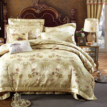 Luxury silk cotton Quilted Bedspread King Size Jacquard Embroidery Bedding Sets girl satin duvet cover 4/5pc bed clothes chinese