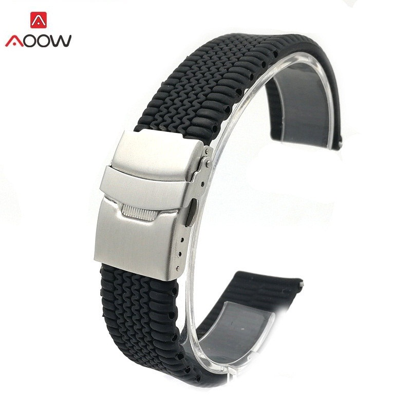 AOOW Men NATO Silicone Watch Bracelet Sport Rubber Tire Link Waterproof Watchband Fold Clasp Watch Strap Band 20mm 22mm 24mm
