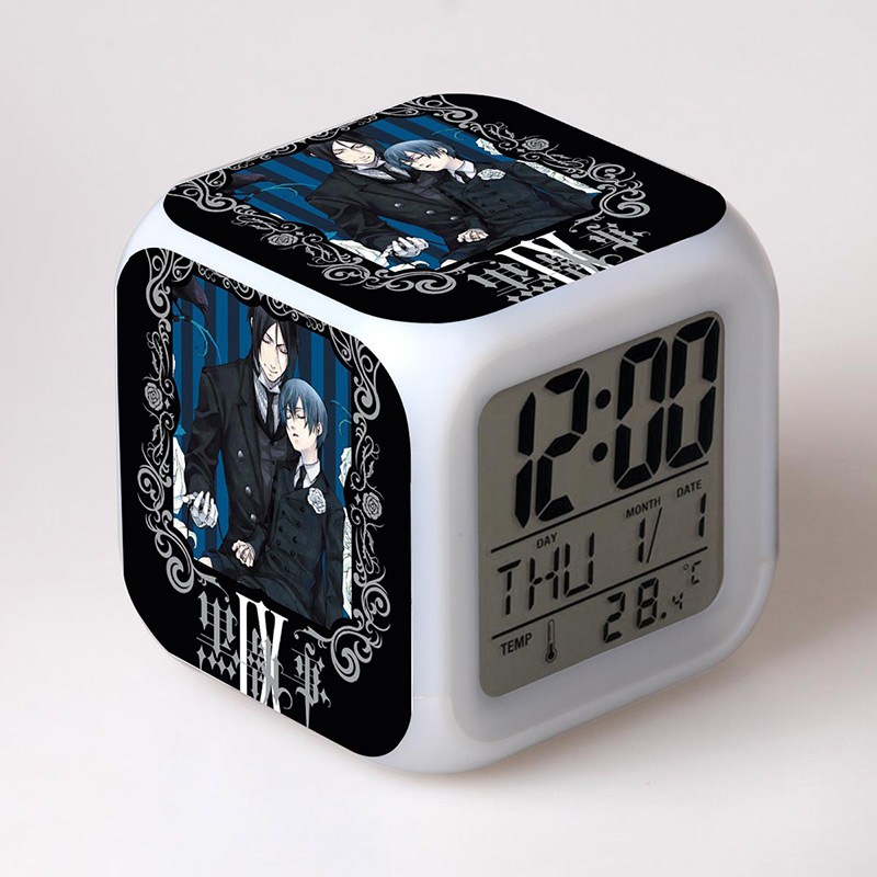 Japan Manga Black Butler Home Decoration LED Alarm Clock Colorful Changing Touch Light Amine Figurine Toys for Children