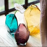 Creative Glass Vase Transparent Flower Utensils Creative Geometric Handmade Artwork VaseTable Decor Green Plant Pot Flower