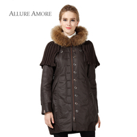 Allure Amore Women Winter Coat Raccoon Fur Hood Removable Shawl Thick Medium Long Parkas Vintage Style