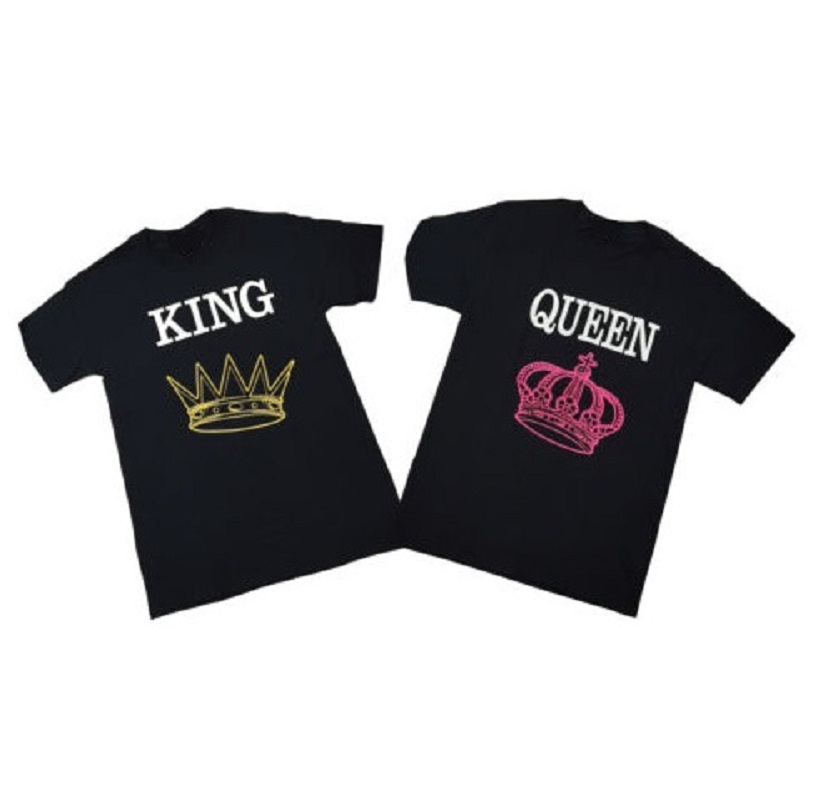 KING and QUEEN Couple T Shirt Love Matching Tops Fashion Design Letter Printed Cotton Tee Shirts For Men/Women Euro Size XS-3XL