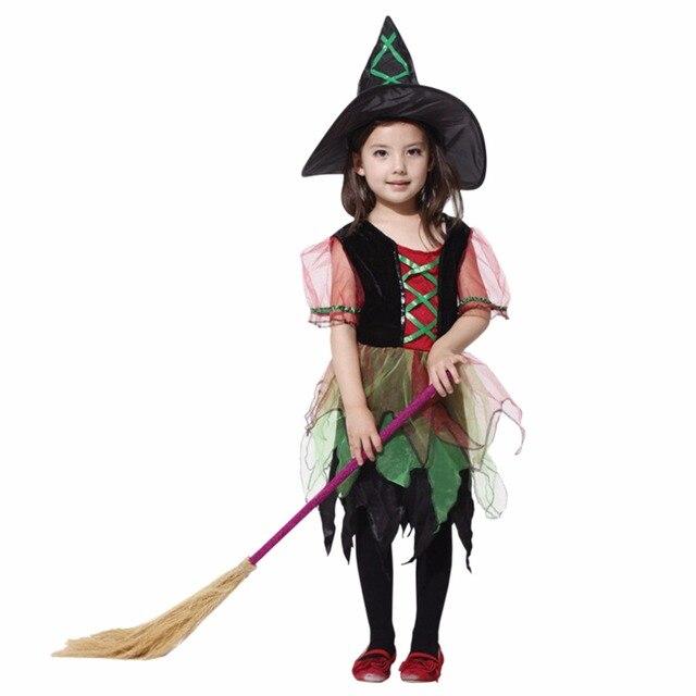 6d804b3d935c8 女の子かわいい魔女コスプレ衣装のためのハロウィンパーティーのコスプレ魔女帽子とドレス