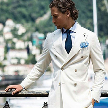 Custom Made Ivory Men Suits Blazers Casual Groom Wedding Tuxedos Slim Fit Bridegroom Wear 2piece Coat Pant Evening Prom Party