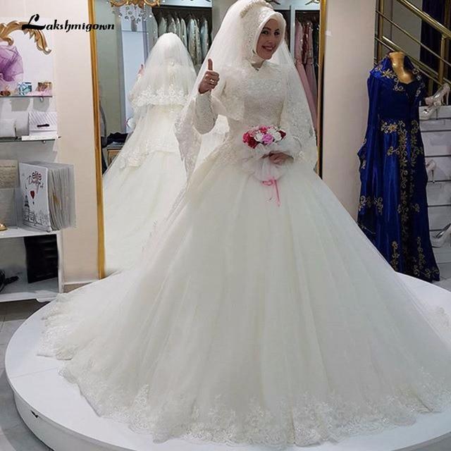 44eb81f9b5f Vintage Lace Long Sleeve Muslim Wedding Dress Elegant Tulle Appliques  Wedding Bridal Gowns Plus Size