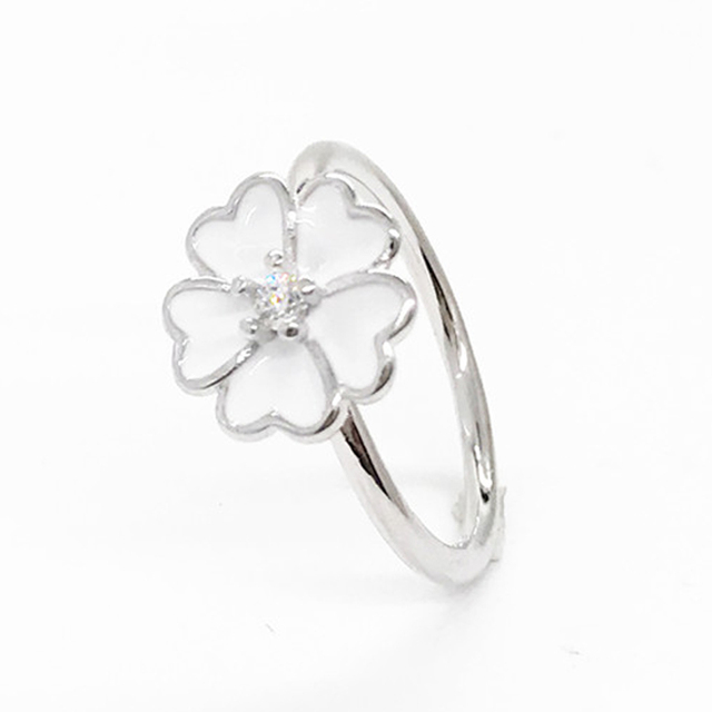 Authentic 100% S925 Sterling Silver Dazzling Daisy Clear Zircon Finger Classic Ring For Women Compatible with party ring Jewelry