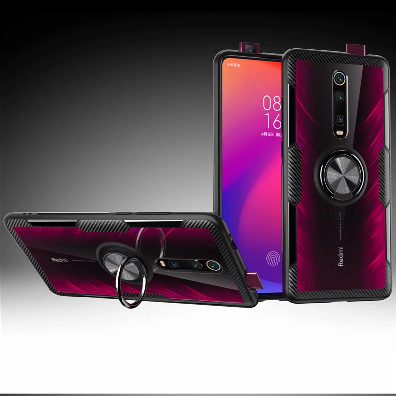 HTB1 aLhXQY2gK0jSZFgq6A5OFXaG Tempered Glass Case For Redmi K20 Note 7 8 Clear Armor Cover For Mi Note 10 CC9 PRo A3 Lite 9T Mi9T 9 SE Metal Ring Holder Coque