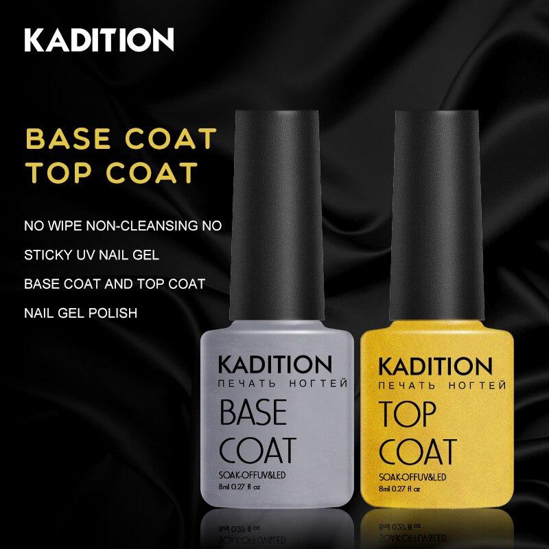 KADITION Top No Sticky Layer Transparent Color Nail Gel Polish Soak Off LED UV Base Top Coat Nails Not Wipe Clear Gel Varnishes