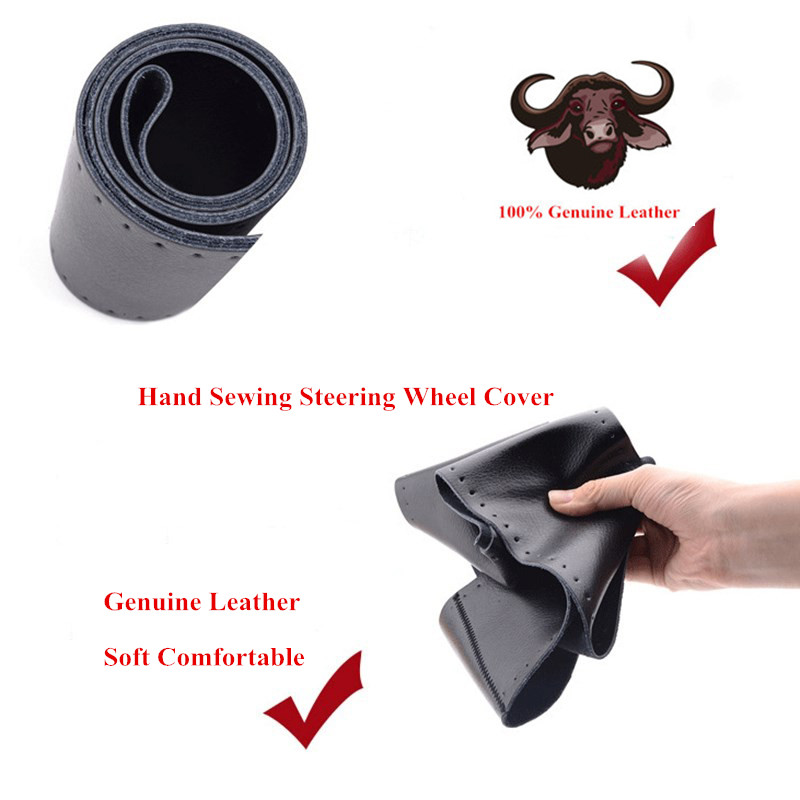 gnupme genuine cowhide leather diy hand sewing steering wheel cover