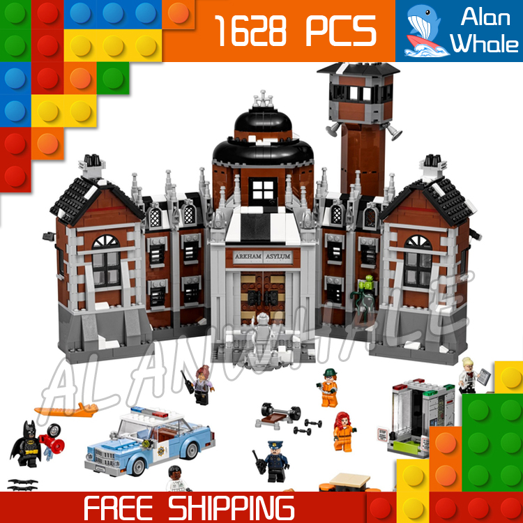 1608pcs New Super Heroes Batman 07055 Arkham Asylum DIY Model Building Kit Blocks Gifts Movie Toys Compatible with Lego single sale pirate suit batman bruce wayne classic tv batcave super heroes minifigures model building blocks kids toys gifts