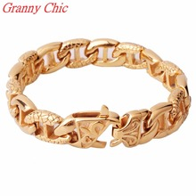 Granny Chic Fashion 14mm Gold Color 316L Stainless Steel Curb Cuban Link Cuff Bracelet Mens Chain Boys Fashion Wholesale Jewelry