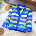 Free shipping new 2015 spring autumn baby clothing baby knitted sweater baby outerwear boys sweater grils stripe Cardigan coat