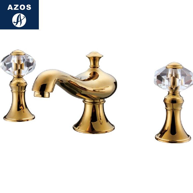 Azos раздельный FaucetSoft чаша из латуни нефритовый золотой переключатель холодной и горячей воды Прачечная бассейн раковина душевая двойная ру