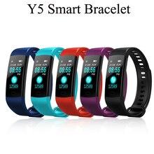 50 шт./лот Y5 Smart Сердечного ритма крови Давление монитор Фитнес трекер Смарт браслеты Смарт-часы Smartband Для мужчин