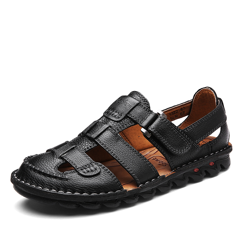 large size <font><b>men</b></font> <font><b>fashion</b></font> beach <font><b>sandals</b></font> covers toe genuine leather <font><b>summer</b></font> <font><b>sandal</b></font> mans <font><b>outdoors</b></font> flat shoes sandalia hombre chaussure image