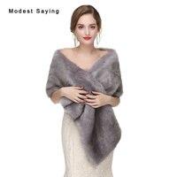 New 2017 Grey Faux Fur Wedding Wraps Fashion Formal Fur Bridal Shawls Women Winter Fur Warm