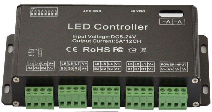 2015 Direct Selling New Led Dimmer Rgbw 12 Channel Easy Dmx Led Controller Rgb Decoder& Driver Strip Module Lamp Single Color fast shipping 3pcs 24ch dmx512 controller decoder ws24luled 24 channel 8groups rgb output dc5v 24v for led strip light module