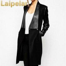 Elegant Black PU Leather Jacket 2018 Spring Fashion New Overcoat Patchwork Woolen Coat Women Winter Outwear Laipelar