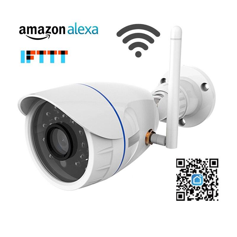 720 P IP Caméra Sans Fil Wifi caméra de surveillance réseau Extérieur Étanche compatible avec Alexa Echo Spectacle et Google Maison