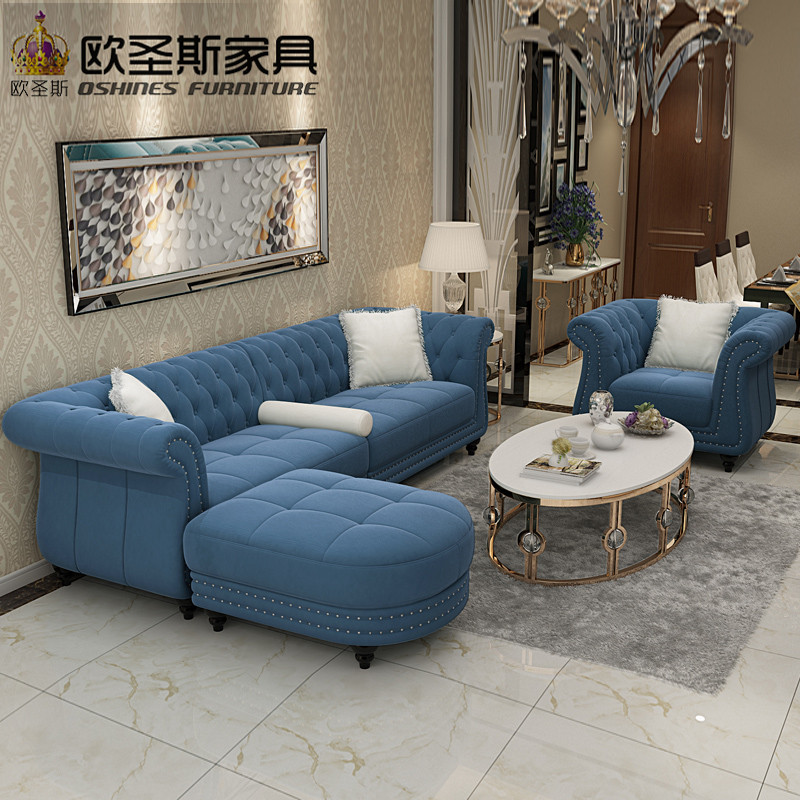 Dubai Leather Sofa Furniture 4 Seaters Dark Blue Sleeper 2019 European New Classical Buttons Suede Velvet Fabric Sofa Set W35F