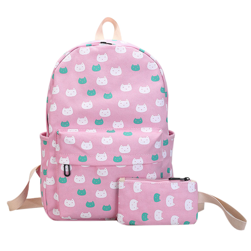 2Pcs Canvas Cat Printing Backpack Set Preppy Chic School Teenage Girls Backpack Rucksack Back Pack Mochila