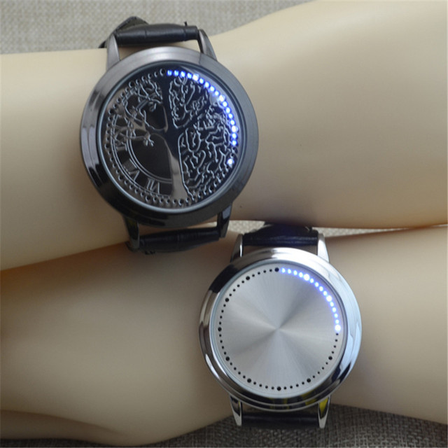 Fashion Normal Waterproof LED Watch Men And Women Couple Watches Leather Strap T