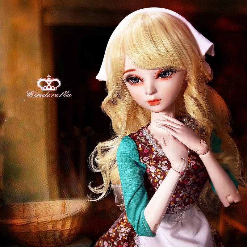 60cm Bjd Doll 1/3 Full Set 60CM Handpainted Makeup Little Maid Cinderella Princess Jointed Girls Doll Toys for Children Gift