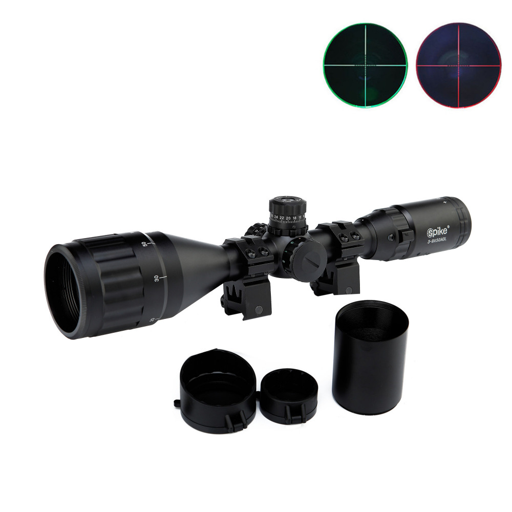 ФОТО 3-9X50AOL Hunting Tactical Riflescope Airsoft Air Guns Green/Red Dot Sight Illuminated Pistol Sniper Optics Reflex Rifle Scopes