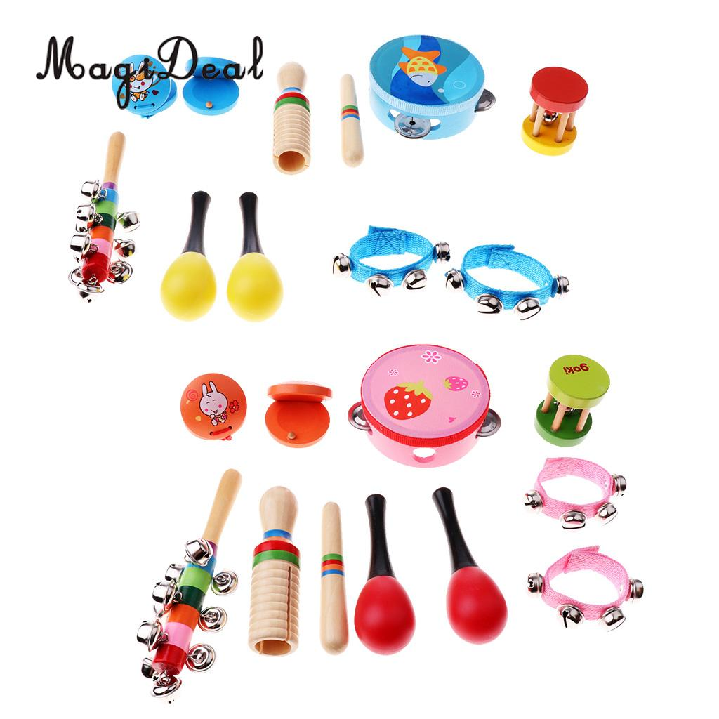 Kids Children Wooden Toy Rattle Sand Hammer Castanet Percussion Musical Instrument Set IQ Intellectual Developmental Toys