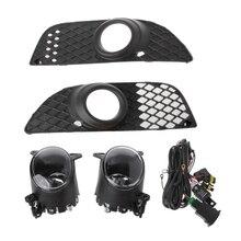 цена на Bumper Grille Fog Lights Lamp + Wiring Switch Kit For Mitsubishi Lancer 08-14