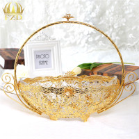 Gold Stainless Steel Fruit Serving Tray Candy Blows Golden Decorative For Wedding Party Supplies And Home