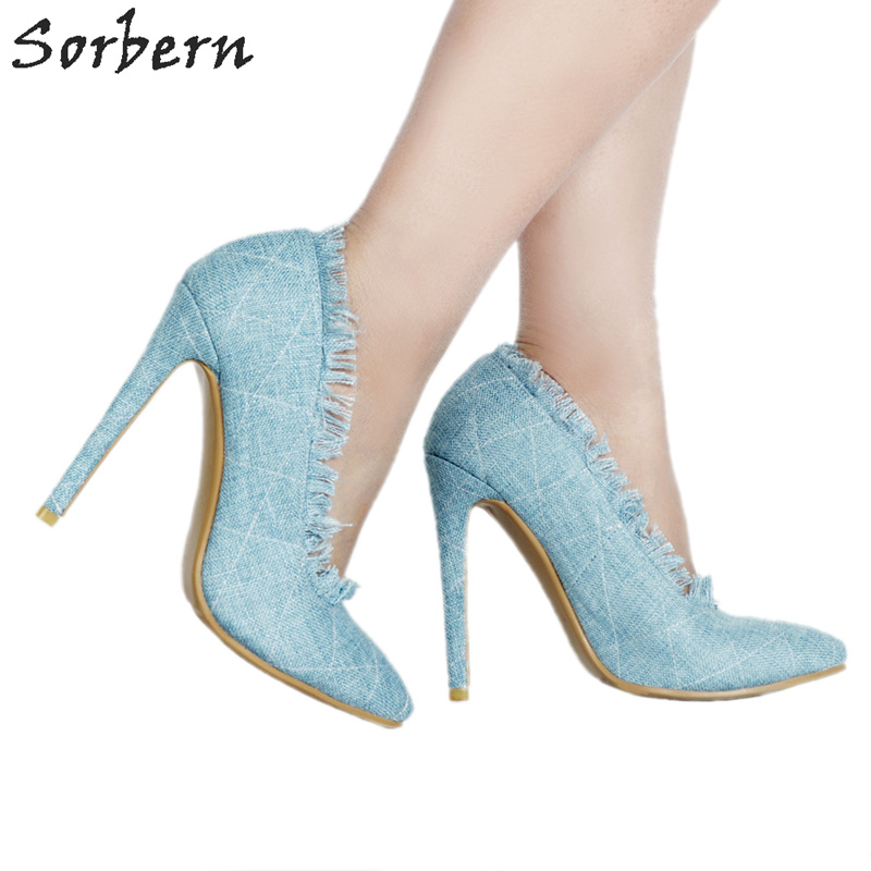 Sorbern Pale Blue Denim Women Pumps Pointed Toe Slip On Shoes Ladies Ol Shoes Stilettos Women Shoes Women Heels Plus Size Pump orange pointed toe pump women shoes sexy slip on women pumps real image thin high heels ol pump shoes large size 8 heels