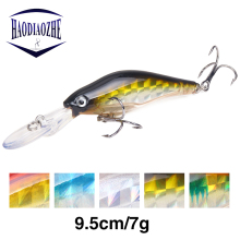 Купить с кэшбэком HAODIAOZHE Minnow Lure Artificial Baits Topwater Floating Wobbler Laser Skin Swimbait Trolling Pike Carp Fishing Crankbait YU247