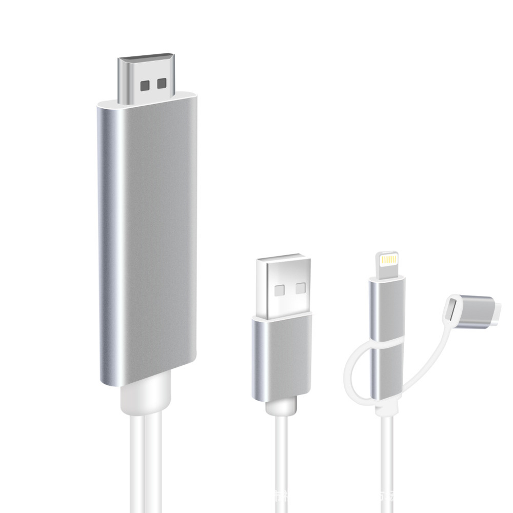 Cable Apple Android Phone Play Micro-Usb HDTV Type-C For 3M 3-In-1 Connector-Plug