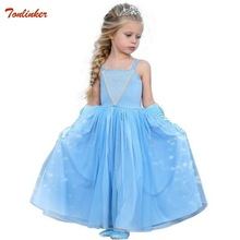 Princess Elsa Dress Children Role-Play Costume Cosplay Cinderella Costumes Girls Ball Gown Party Christmas Cosplay Dresses Blue high quality fancy princess elsa costume cosplay dress christmas for girls clothing baby role play halloween dresses with crown