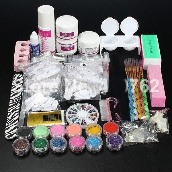 BTT-110 Livraison Gratuite Nouveau Pro Poudre Acrylique Liquide Glitter Brosse Brucelles Primer Nail Art Conseils Outils Kit Set