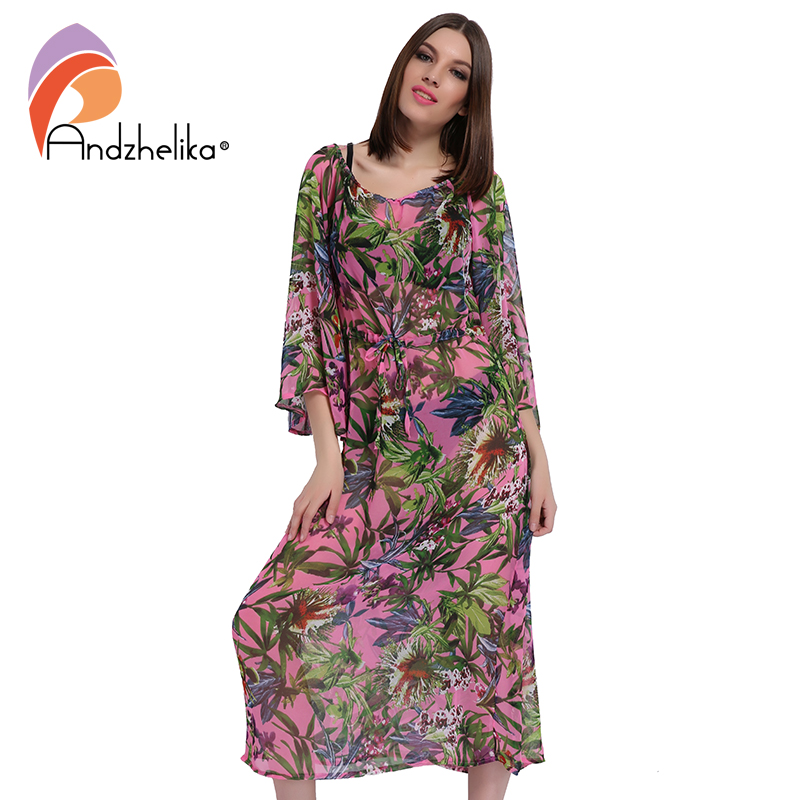 Andzhelika 2018 New Beach Cover Up Women Print Chiffon A long transparent beach dress Swimwear Cover Up Dress Beach Wear