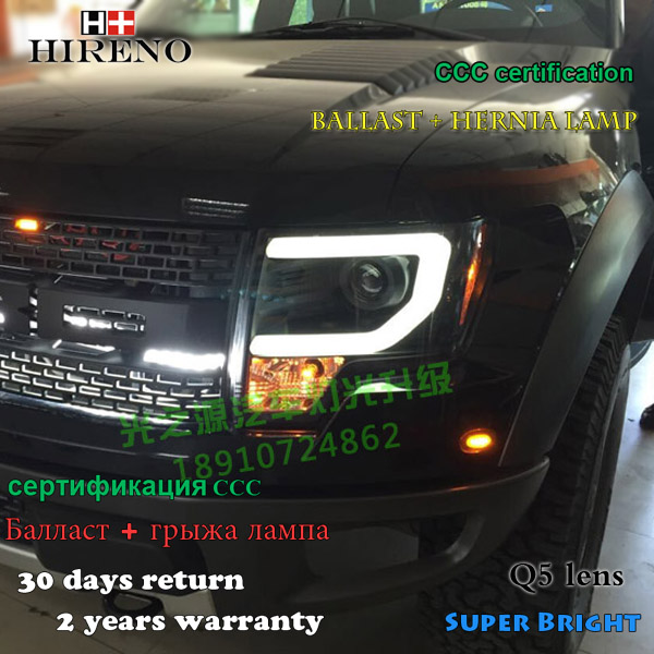 Hireno Car styling Headlamp for 2013-2015 Ford Raptor F150 Headlight Assembly LED DRL Angel Lens Double Beam HID Xenon 2pcs hireno car styling headlamp for 2003 2007 honda accord headlight assembly led drl angel lens double beam hid xenon 2pcs
