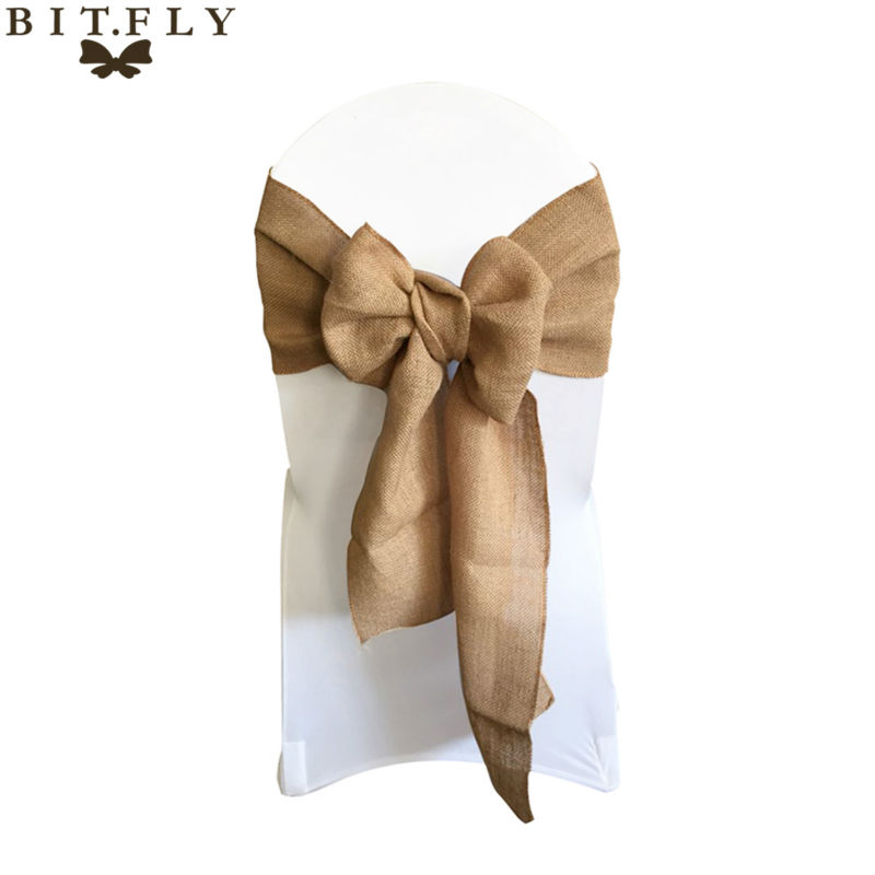 7 108 Naturally Elegant Burlap Chair Sashes Jute Chair Tie Bow for Rustic Wedding Decoration Home
