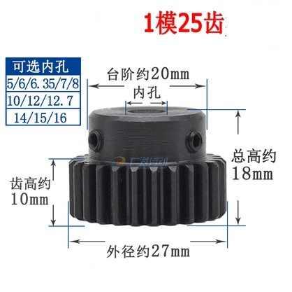 2 ピース 1M25T 1 Mod 25 歯平歯車金属モーター boss ギヤ内穴 4/5/6 /7/8/10/12/12.7 ギアラック伝送 RC