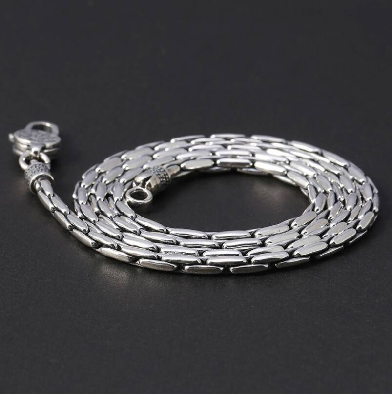 Retro silver necklace 3mm wide unisex snake link chain necklace