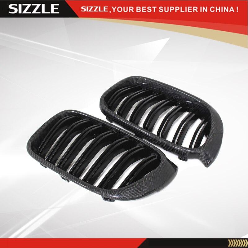 Carbon Fiber Front Grille Gloss Black Dual Slats For BMW X Series X4 F26 & X3 F25 2014 2015 2016 +