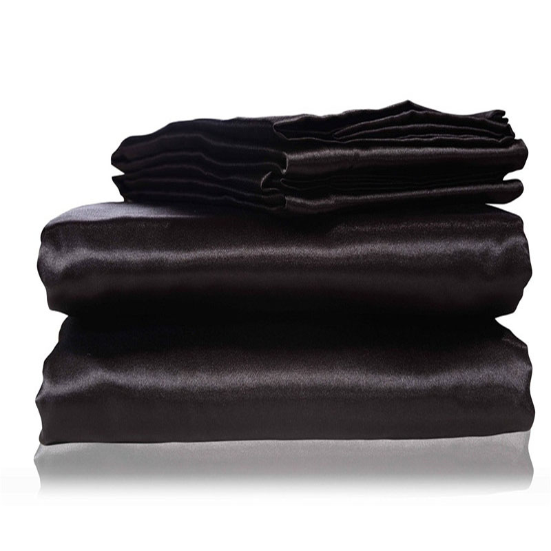 2017 new silk flat sheet fitted sheet pillow cases twin full queen king sizes nestl bedding set. Black Bedroom Furniture Sets. Home Design Ideas