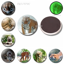 Tiger 30 MM Magnet Fridge Glass Dome Refrigerator Magnets Self Luminous Animals Magnetic Stickers for Home Decoration